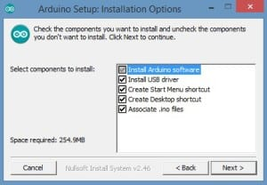 Arduino Setup Installation Options