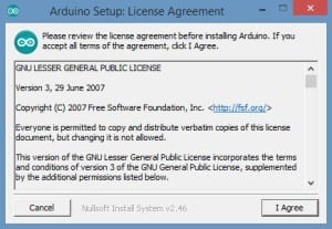 Arduino Setup Lisence Agreement