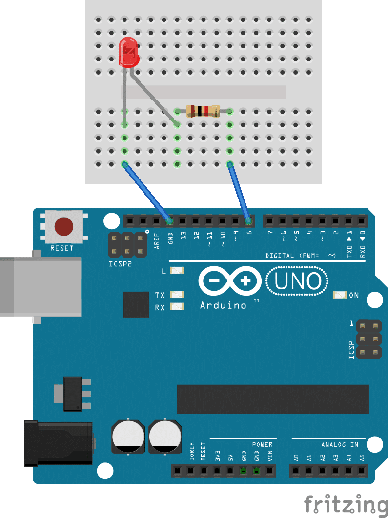 Getting Started With The Arduino Controlling Led Part 1 Wiring In Parallel Leds Its Easy To Change It For Example Say You Want Use Pin 8 Instead Of 13 First Move Signal Wire From Over