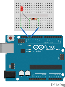 Getting Started with the Arduino - External LED Wiring Diagram