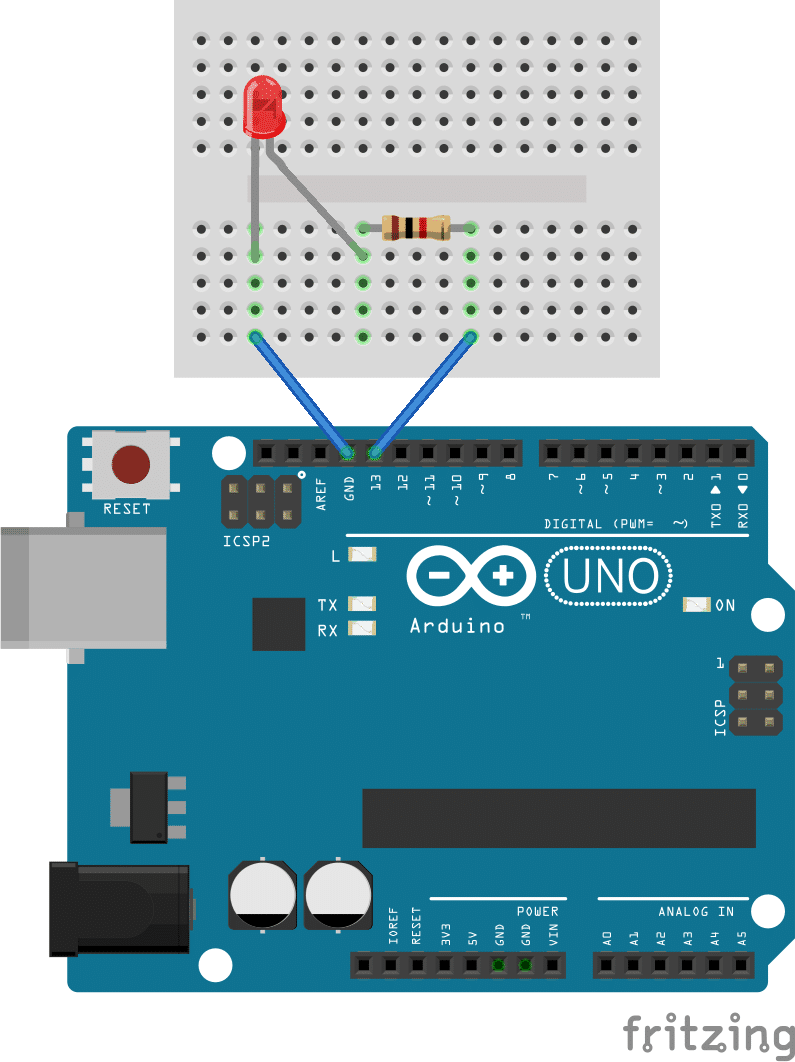 Getting Started With The Arduino Controlling Led Part 1 Simple Flash Light Circuit Schematic Diagram