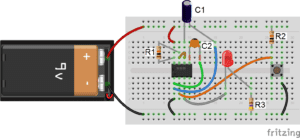 555 Timer Monostable - One-Shot Pulse Circuit Diagram