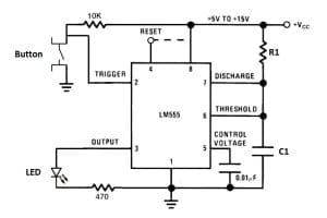 555 Timer Monostable Mode Circuit