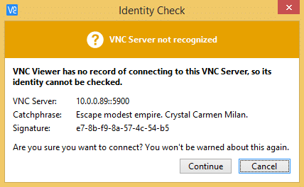 How to Access the Raspberry Pi Desktop with a Remote Desktop Connection - VNCViewer Identity Check