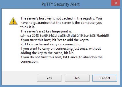 Raspberry Pi PuTTY Warning