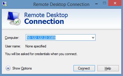 remote desktop port forwarded