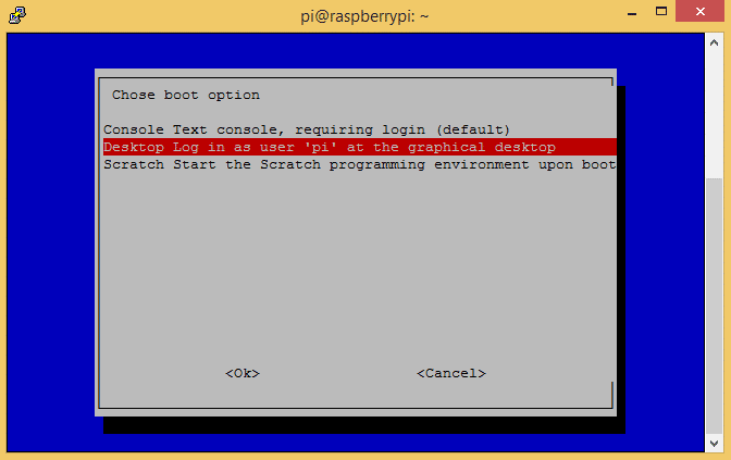 raspi-config boot to desktop 2