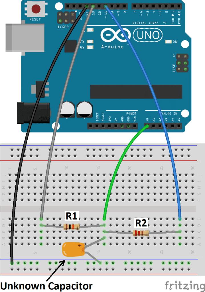 Arduino capacitance meter circuit diagram