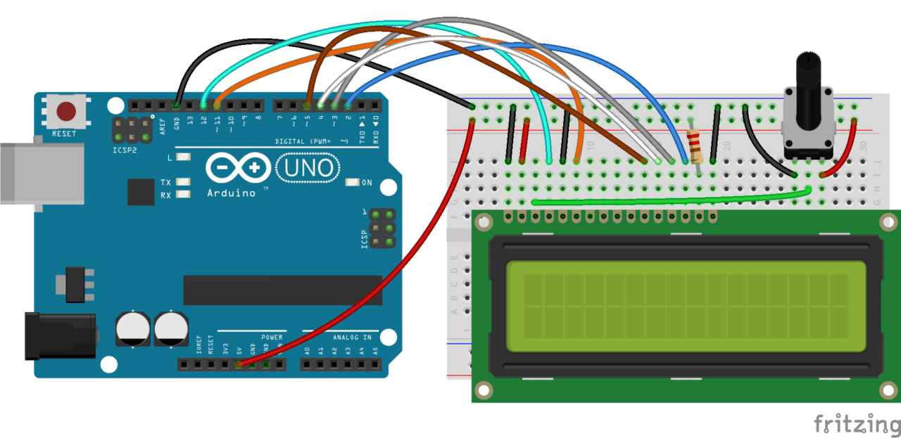 Also, you might need to solder a 16 pin header to your LCD before  connecting it to a breadboard. Follow the diagram below to wire the LCD to  your Arduino: