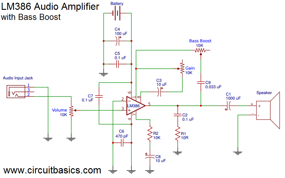 build a great sounding audio amplifier (with bass boost) from the lm386 -  amplifier  here's the wiring diagram: