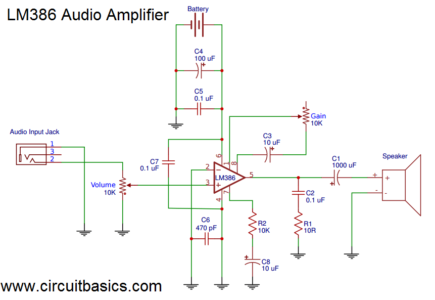 Build a Great Sounding Audio Amplifier (with Bass Boost) from the LM386 - Amplifier With Gain Schematic