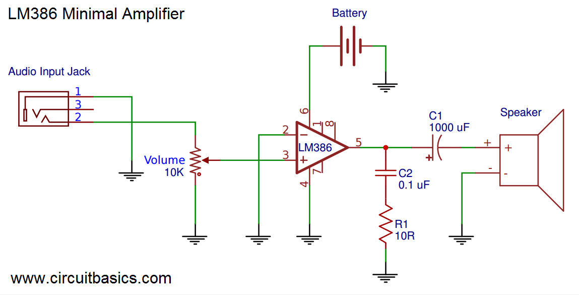 Build a Great Sounding Audio Amplifier with Bass Boost from the LM386 Minimal Amplifier Schematic build a great sounding audio amplifier (with bass boost) from the lm386