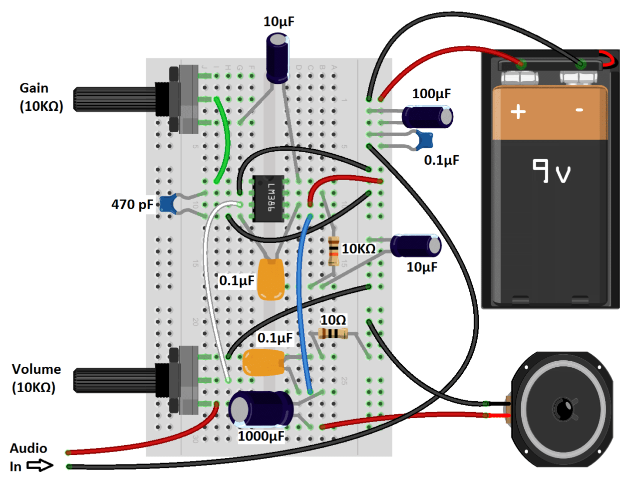 Build A Great Sounding Audio Amplifier With Bass Boost From The Lm386 Circuit Diagram Using Breadboard One Thing To Keep In Mind When Youre Wiring Any Is That Cleanest Sound Will Result Keeping All Wire Connections And Components As