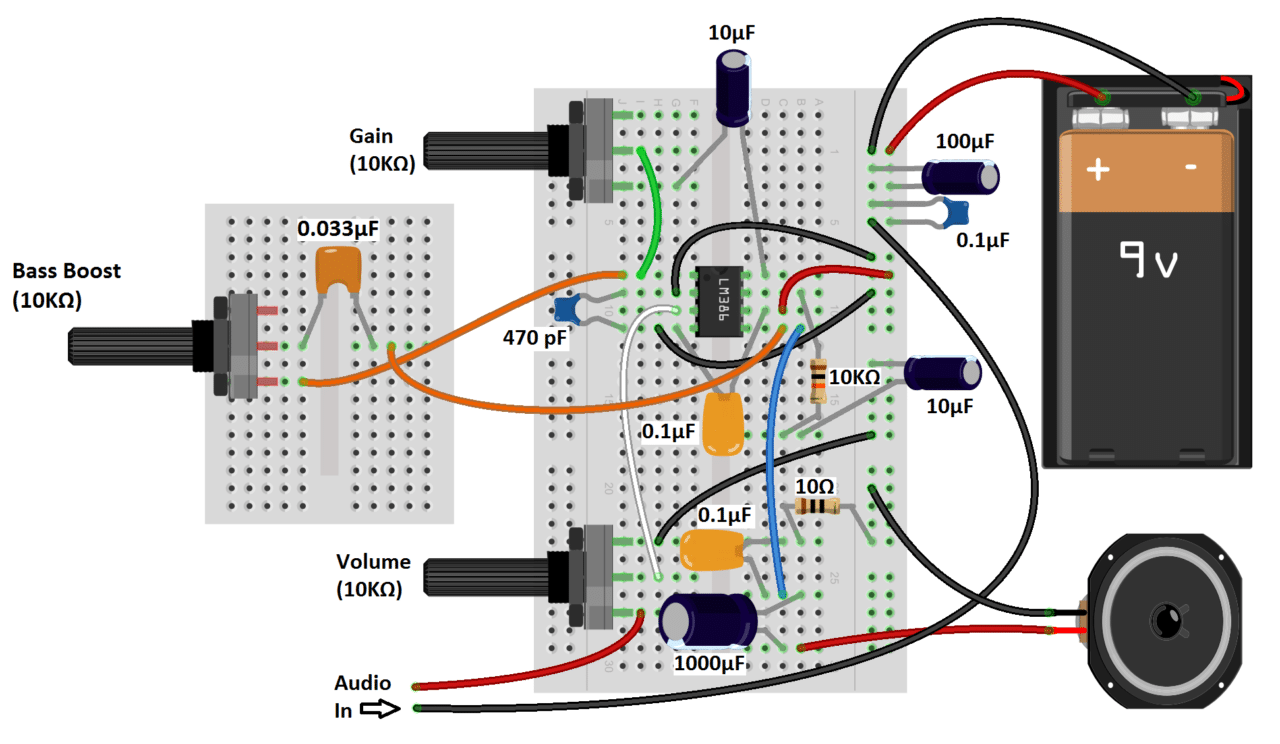 build a great sounding audio amplifier (with bass boost) from the lm386an easy way to connect the audio input in these circuits is by cutting the 3 5 mm audio jack from an old set of headphones and wiring it to breadboard pins
