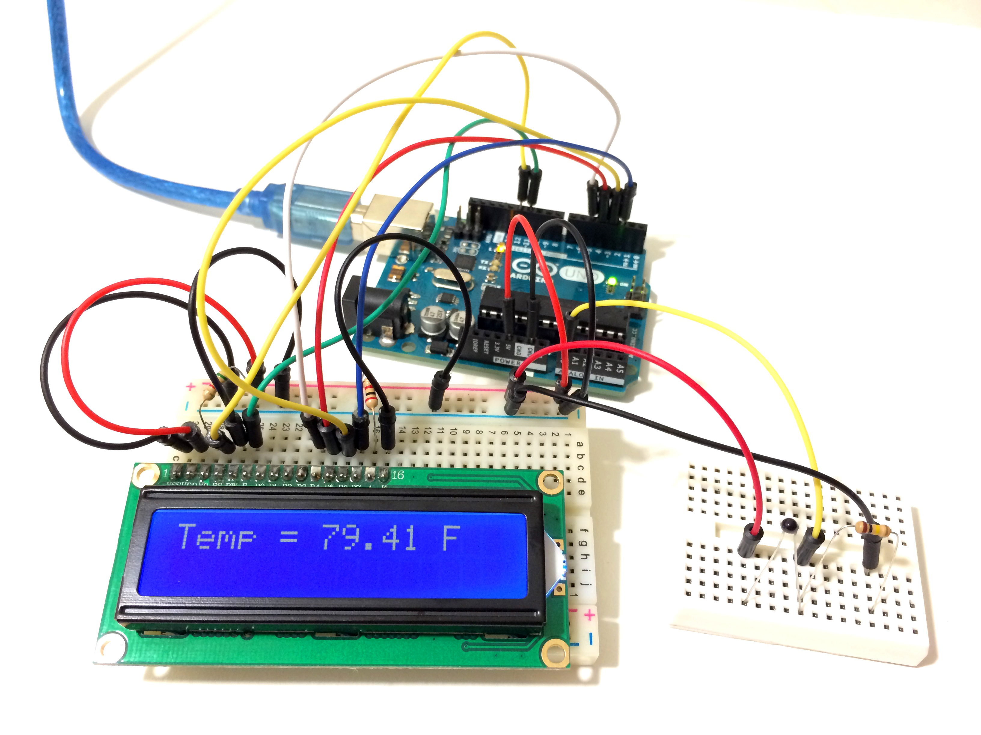 thermistor temperature sensor set up on arduino with lcd output
