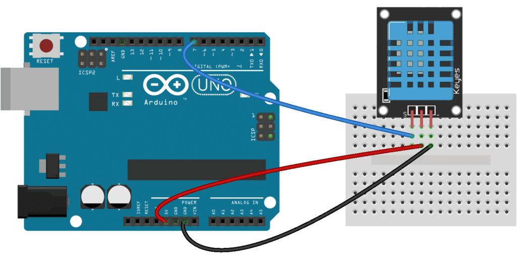 Arduino DHT11 Tutorial - 3 Pin DHT11 Wiring Diagram