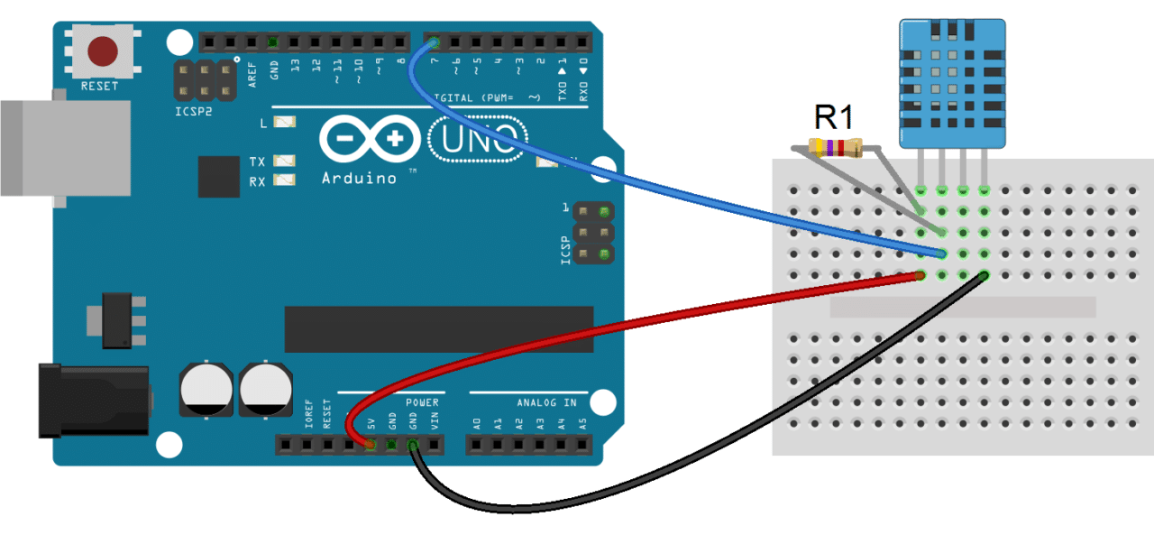 Arduino DHT11 Tutorial - 4 Pin DHT11 Wiring Diagram