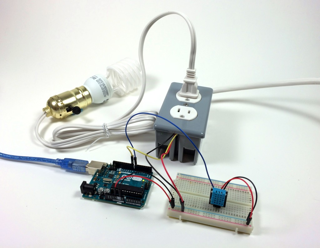 Build an Arduino Controlled Power Outlet - DHT11 Humidity and Temperature Sensor Controlling a Light Bulb