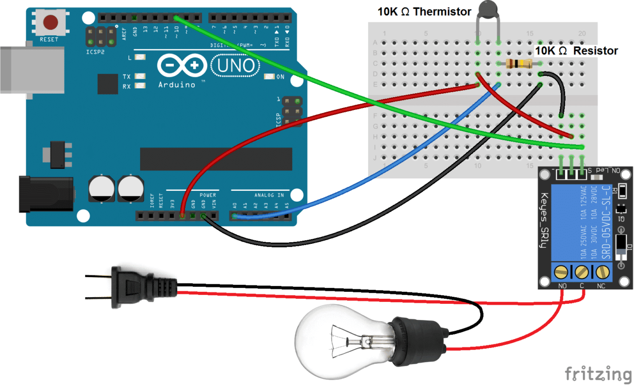 Arduino Temperature Dependent Light Bulb With 5V Relay Updated how to set up a 5v relay on the arduino circuit basics thermistor relay wiring diagram at bayanpartner.co