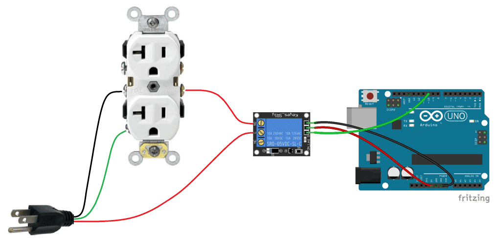 Arduino Controlled Power Outlet Basic Diagram