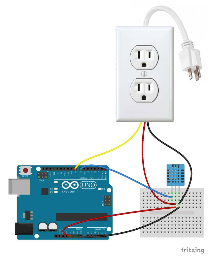 Arduino Controlled Power Outlet With DHT11 Humidity and Temperature Sensor Control