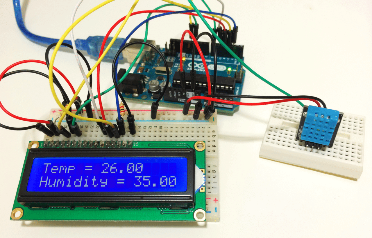 Arduino Lcd Set Up And Programming Guide Push To Test Light Wiring Diagram How The Dht11 Humidity Sensor On An
