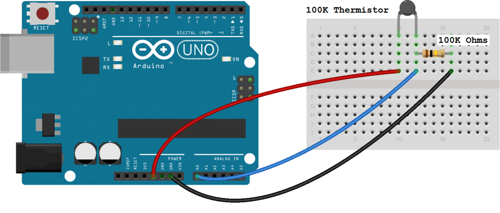 Arduino Thermistor Basic Set Up Diagram