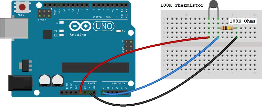 Arduino Thermistor Basic Set Up Diagram