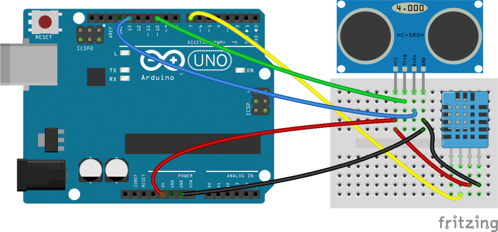 Arduino Ultrasonic Range Finder With Temperature and Humidity