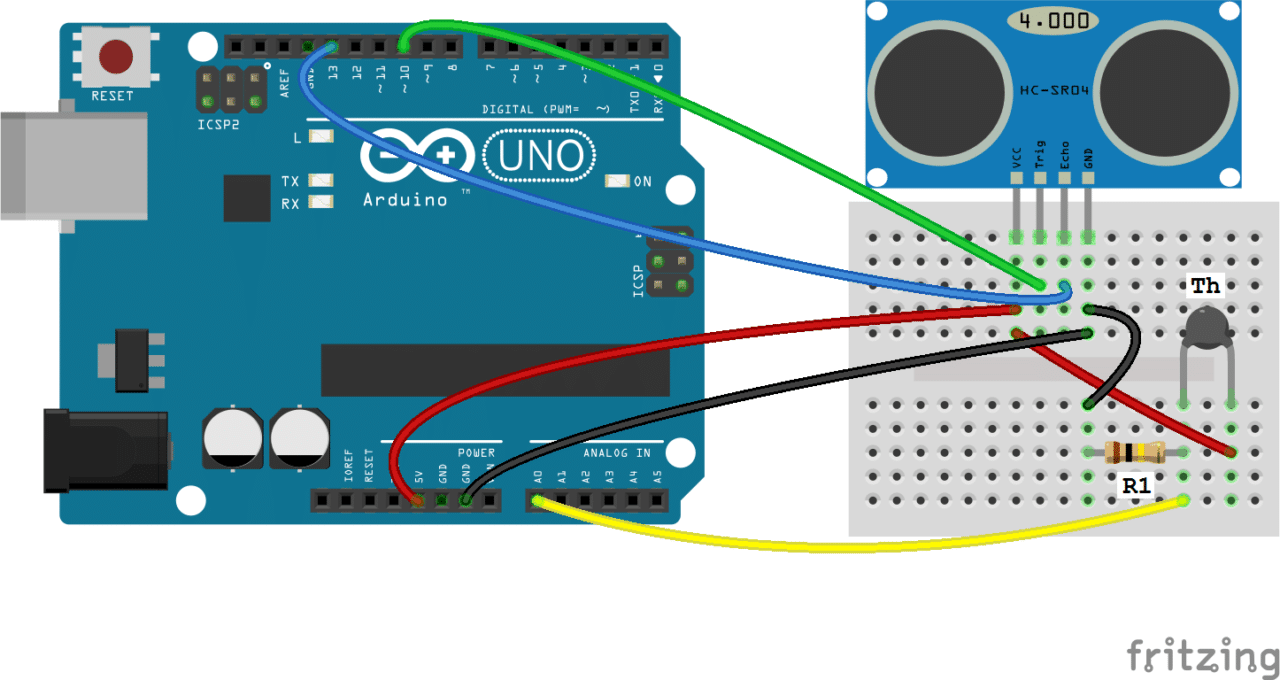 ... check out our article, Arduino Thermistor Temperature Sensor Tutorial.  Here is a diagram to help you add a thermistor to your range finder circuit: