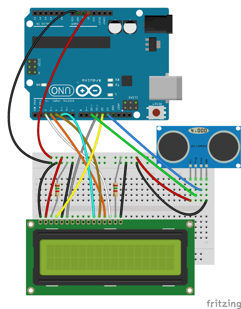 Arduino Ultrasonik Mesafe Bulucu ve LCD Şeması