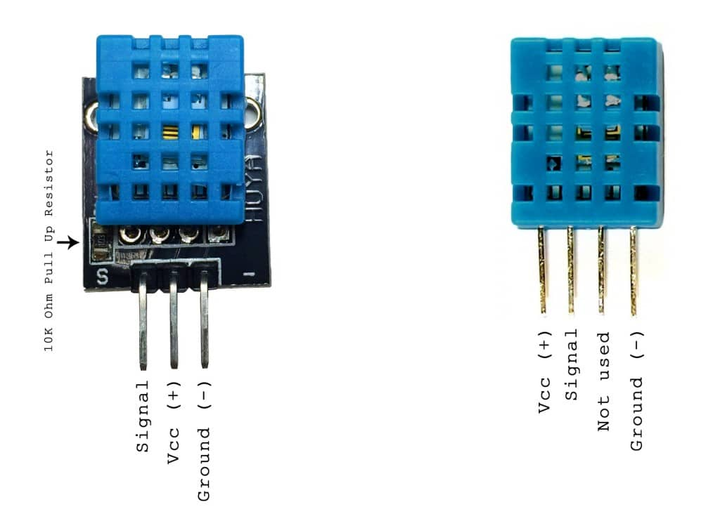Comparison of three pin DHT11 vs four pin DHT11
