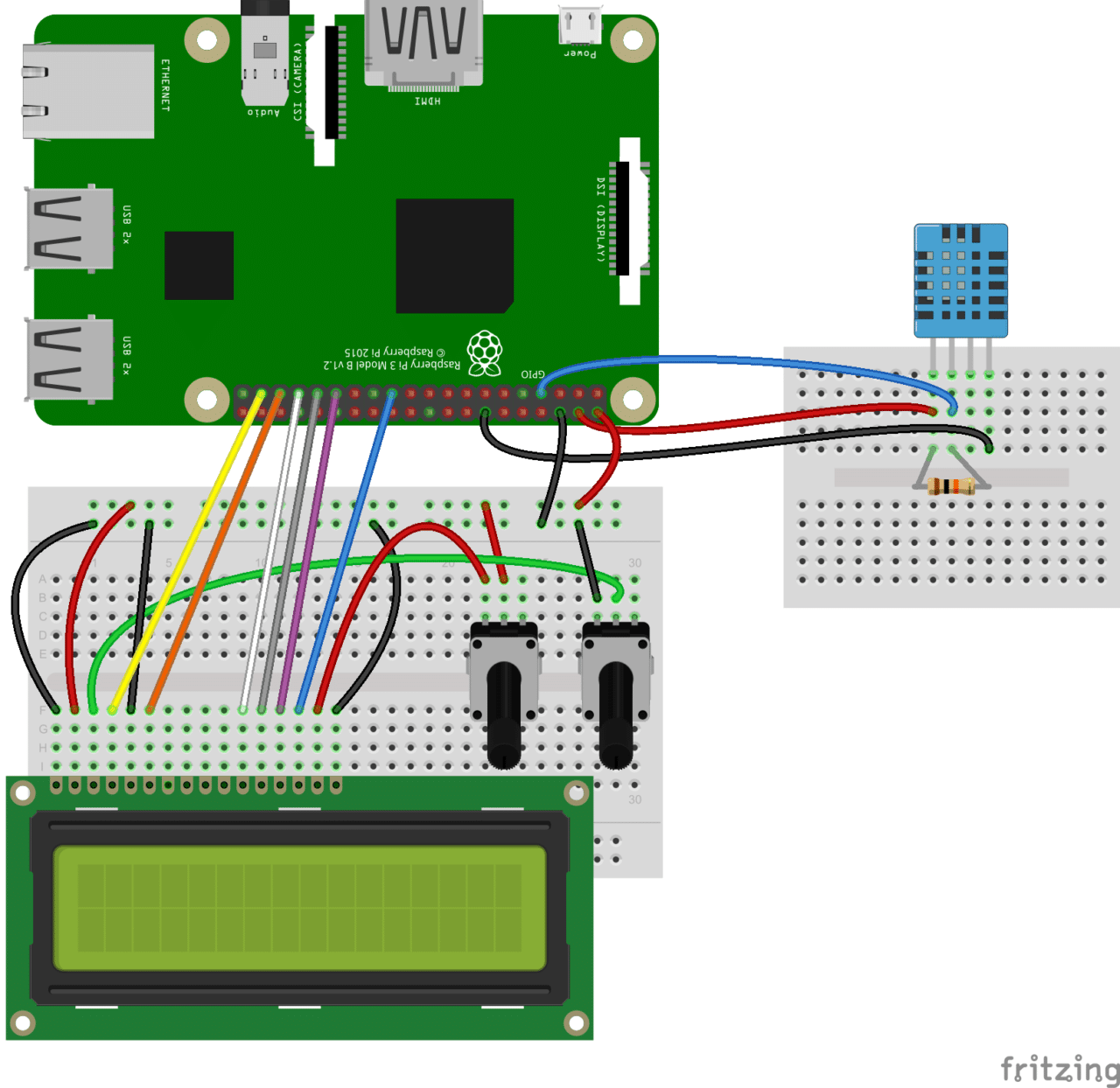 How To Set Up The Dht11 Humidity Sensor On Raspberry Pi 10 Led Wiring Diagram If You Have A Four Pin And Want Output Temperature An Lcd Display Connect It Like This