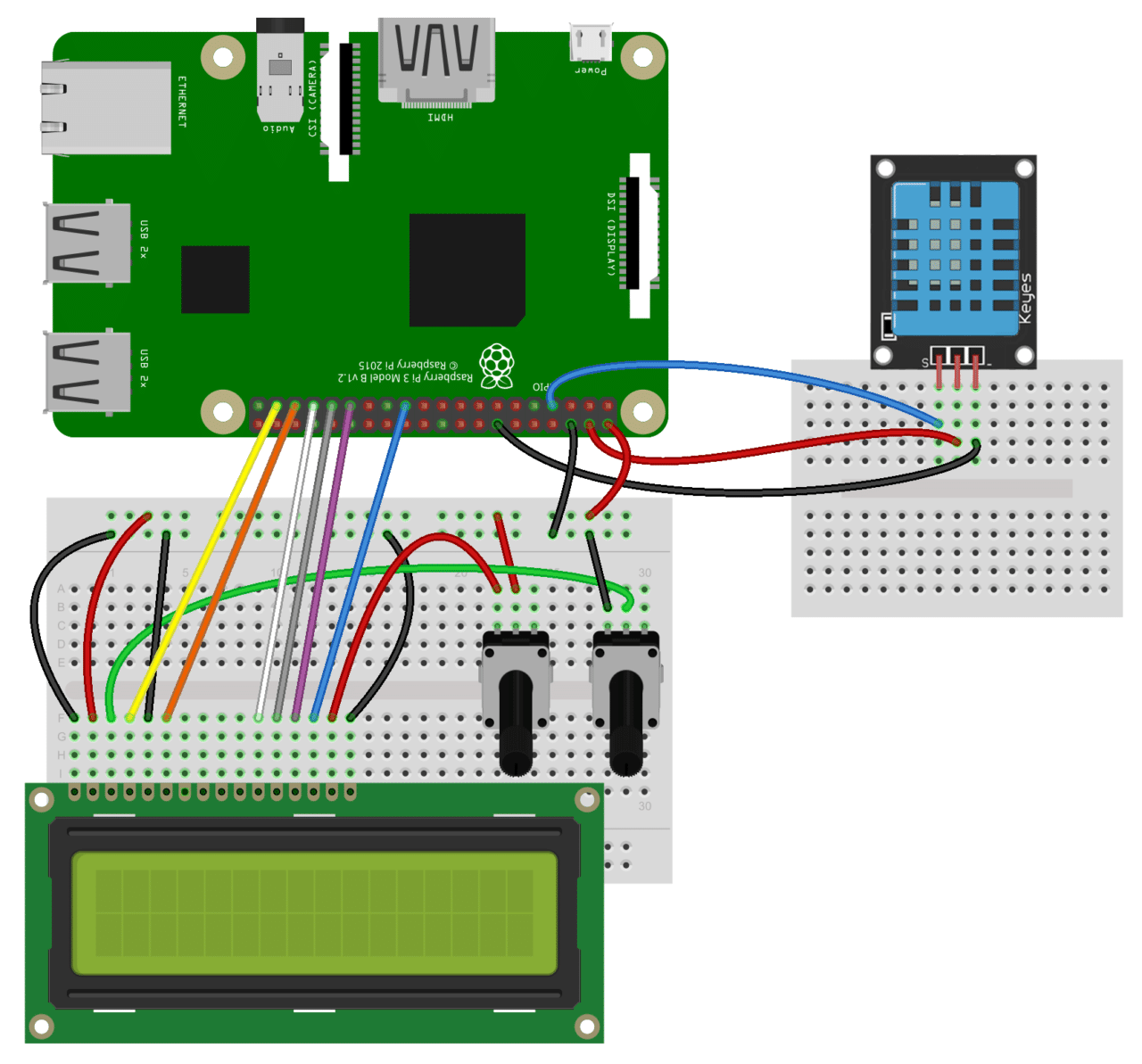 How to Setup the DHT11 on the Raspberry Pi - Three pin DHT11 LCD Wiring Diagram