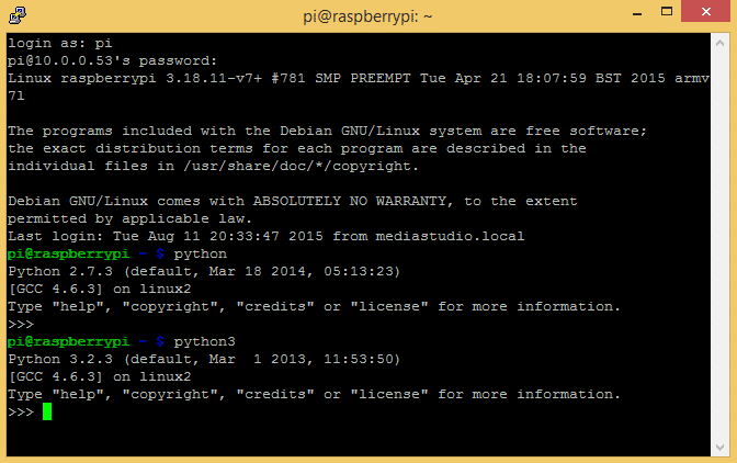 Python and python3 REPL on the Raspberry Pi