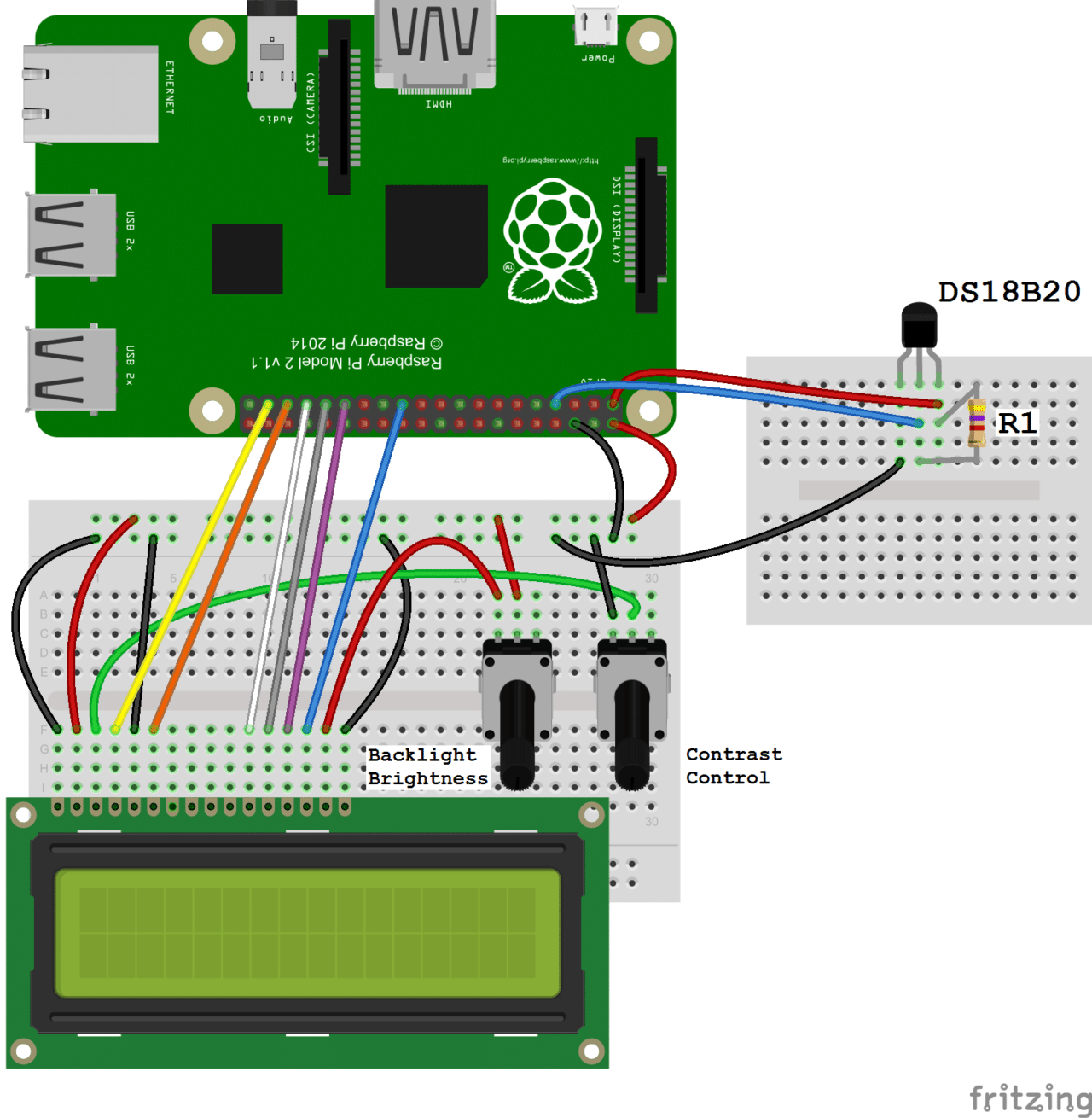 Raspberry Pi DS18B20 LCD Output