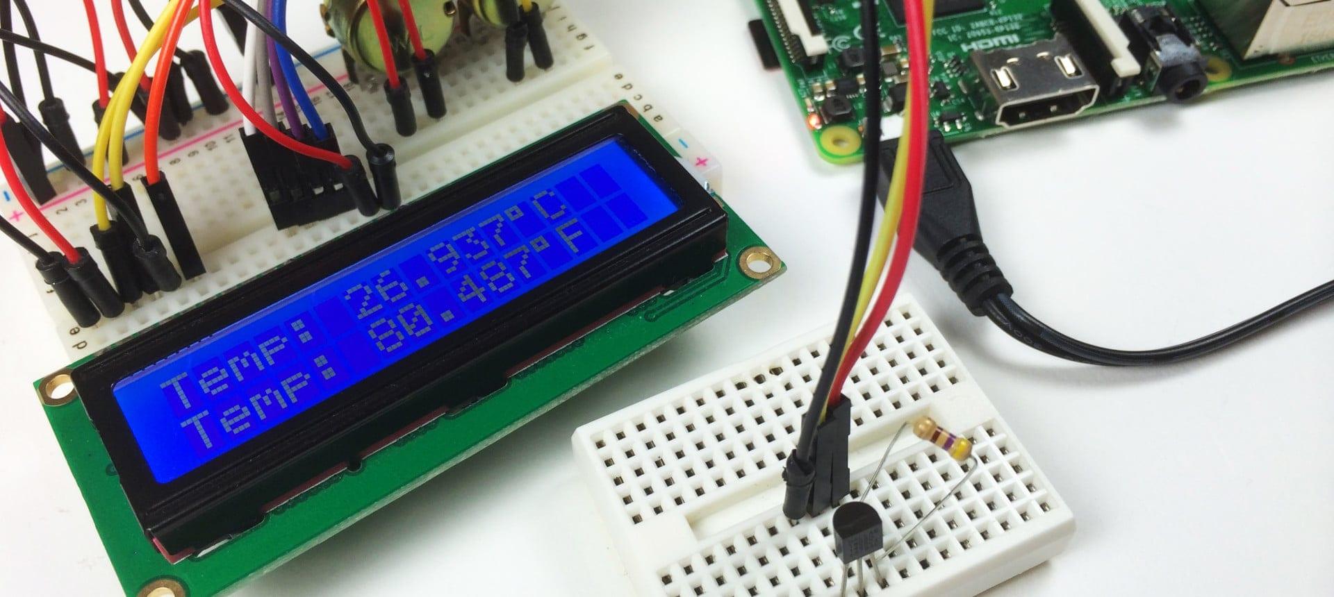 Raspberry Pi DS18B20 Temperature Sensor Tutorial - DS18B20 LCD Output