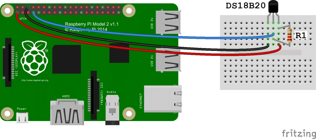 raspberry pi ds18b20 temperature sensor tutorial circuit basics follow this wiring diagram to output the temperature to an ssh terminal