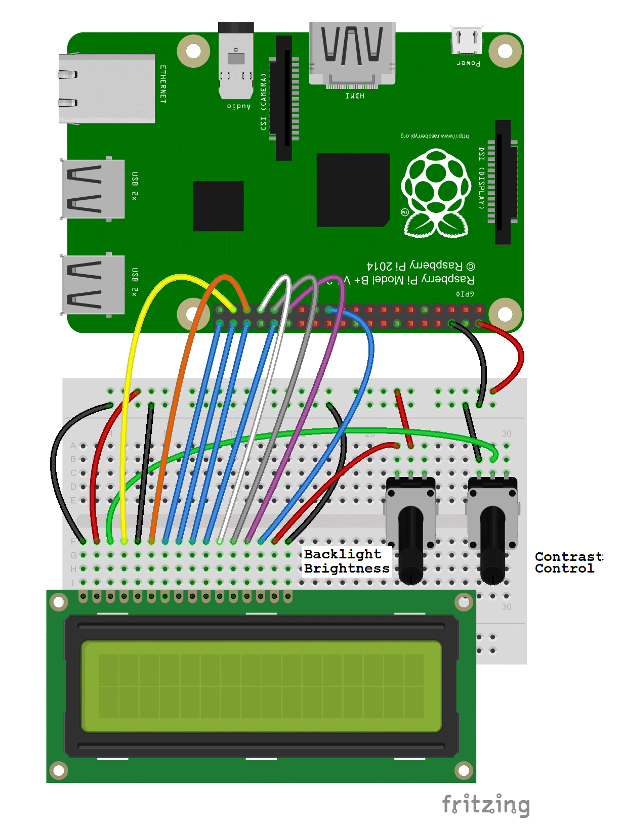 How To Setup An Lcd On The Raspberry Pi And Program It With C Wiringpi Bcm2835 Connecting In 8 Bit Mode Requires 10 Gpio Pins