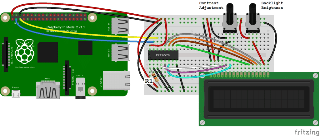 Raspberry Pi LCD - I2C Connection Diagram