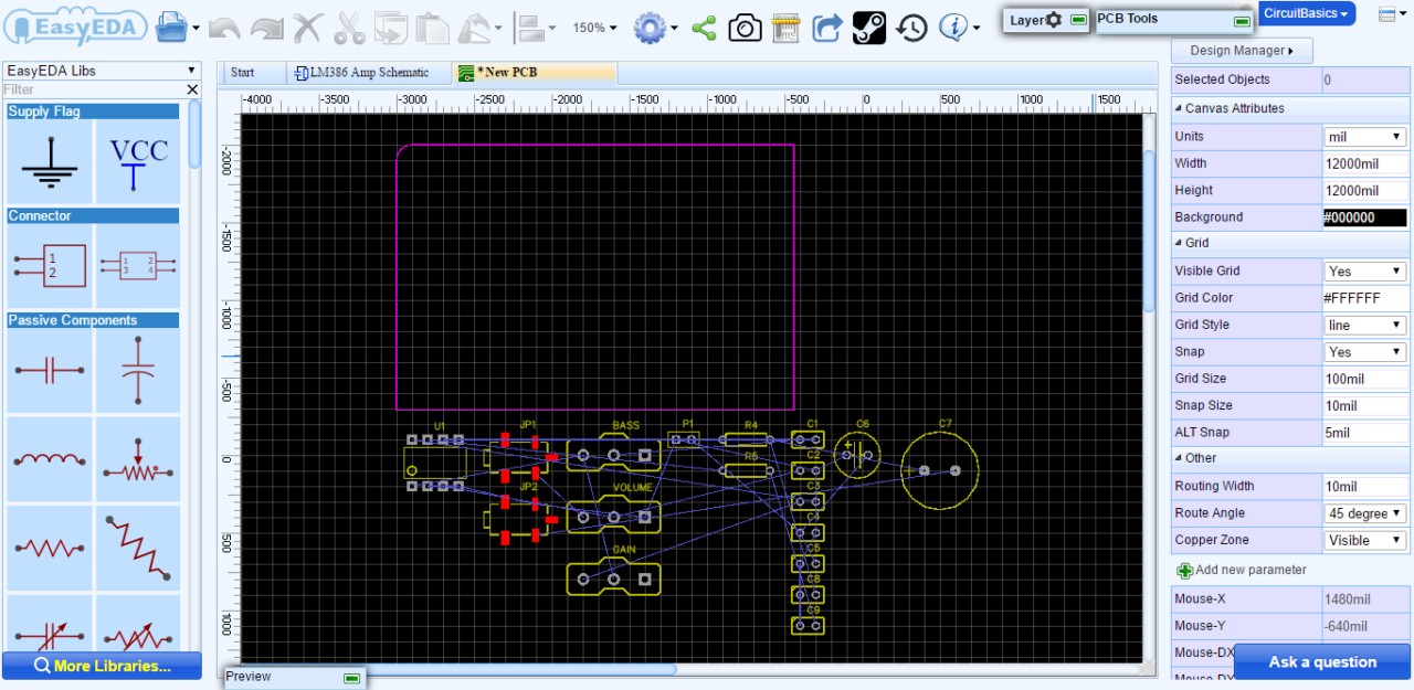 How To Design A Pcb Layout Circuit Basics Custom Printed Board Manufacturing And Notice The Thin Blue Lines Connecting Components These Are Called Ratsnest Virtual Wires That Represent Connections