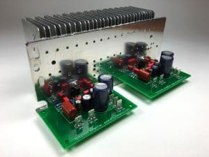 Complete TDA2050 Amplifier Design and Construction - Assembled PCBs Attached to Heat Sink