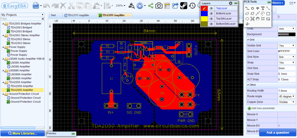 Complete TDA2050 Amplifier Design and Construction - PCB Layout