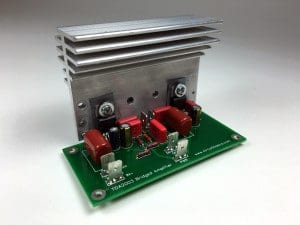 How to Build an Audio Amplifier With the TDA2003 - Assembled Bridged PCB Attached to Heat Sink
