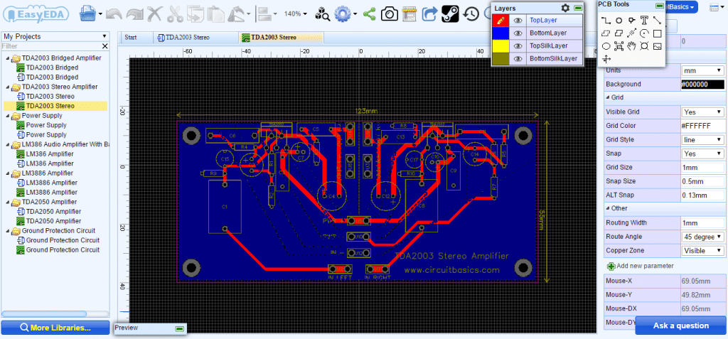 How to Build an Audio Amplifier With the TDA2003 - Bridged PCB Layout