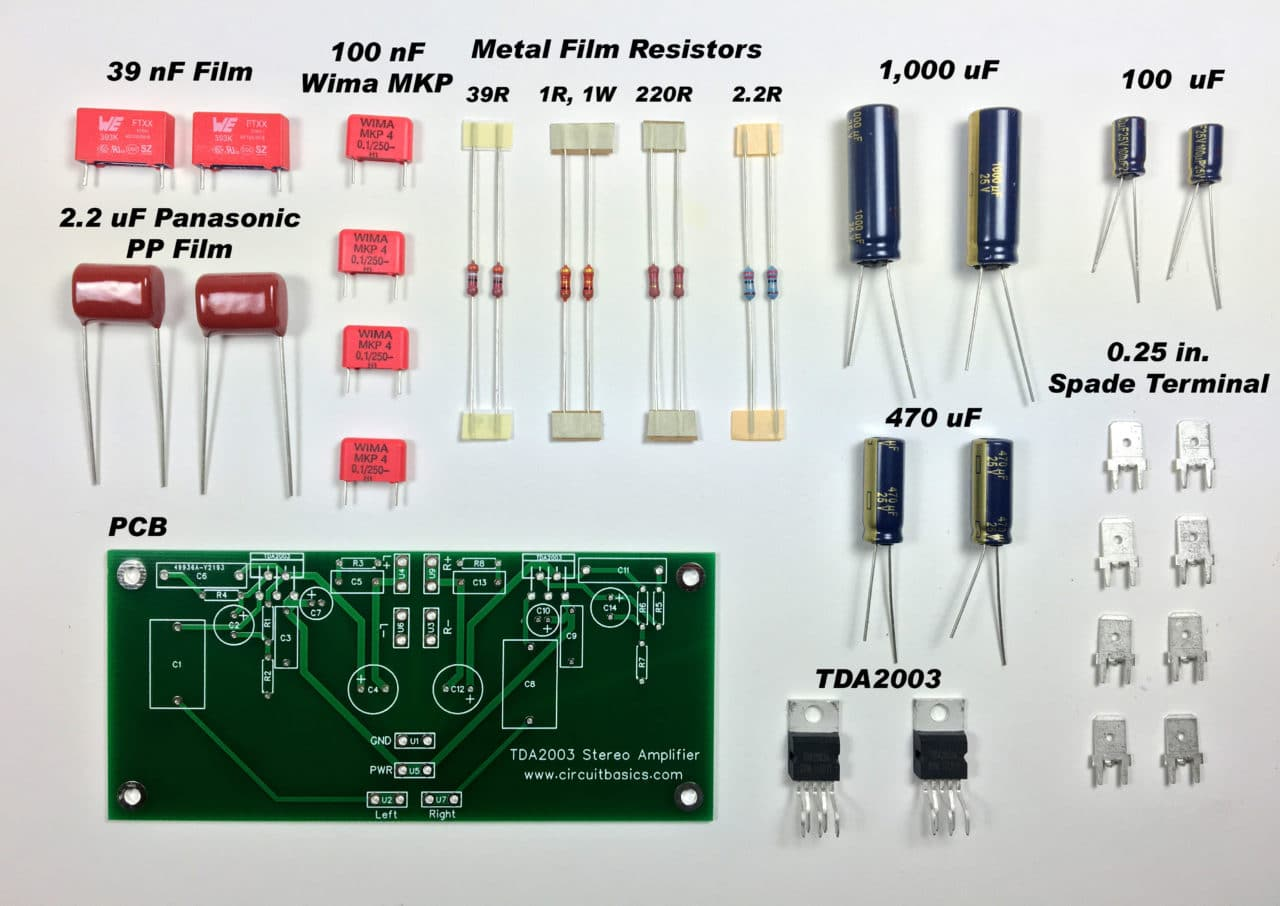 A Guide For Building Tda2003 Bridged And Stereo Amplifiers Circuit Panasonic Amp Wiring Diagram Here Are The Amplifier Components Pcb Before Soldering