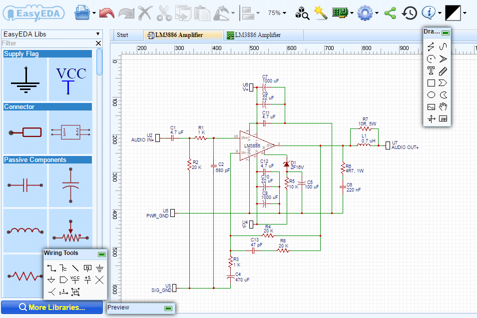 How to Design a Hi-Fi Audio Amplifier With an LM3886 - Circuit Schematic