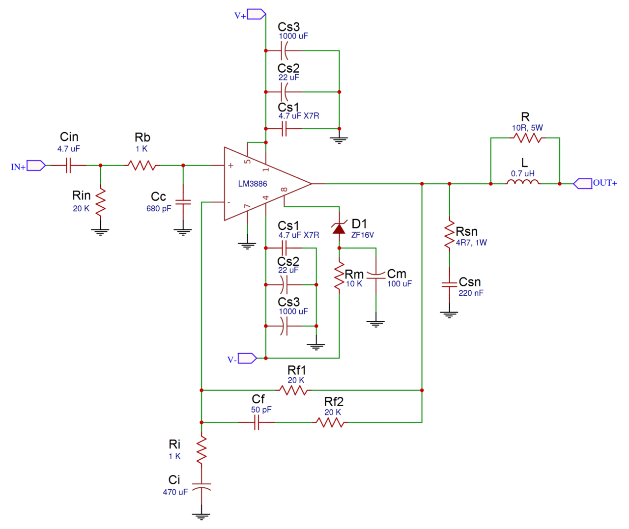 A Complete Guide To Design And Build Hi Fi Lm3886 Amplifier 50 Watt Transistor Circuit Ill Be Using The Schematic Below Its Basically Same As One In Datasheet But With Optional Stability Components Included