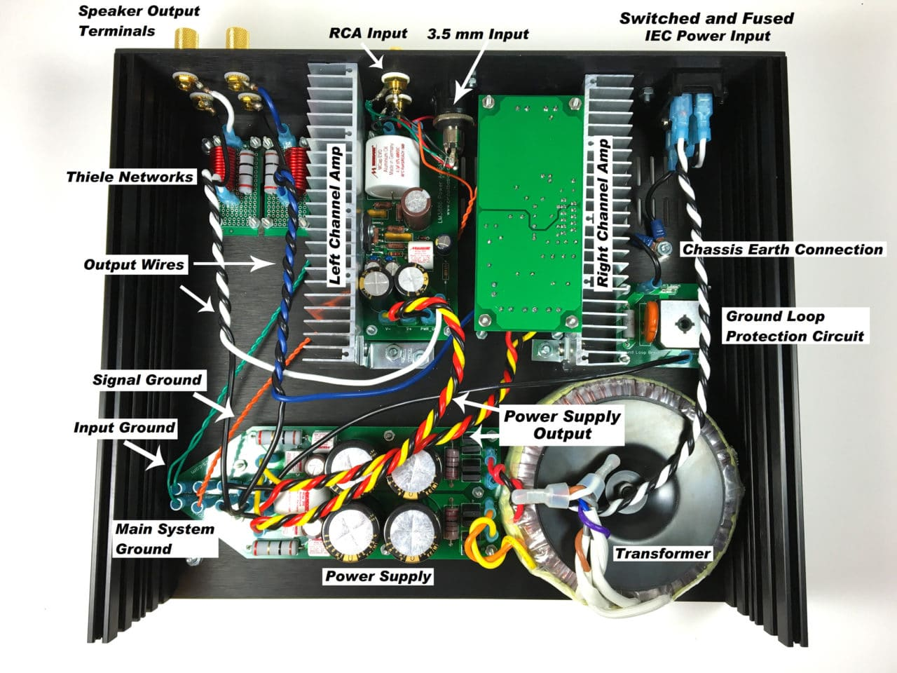 A Complete Guide To Design And Build Hi Fi Lm3886 Amplifier Wiring Capacitor 2 Amps In This Arrangement The Heat Sinks Provide Some Shielding From Thiele Networks Ac Wires Leading Transformer
