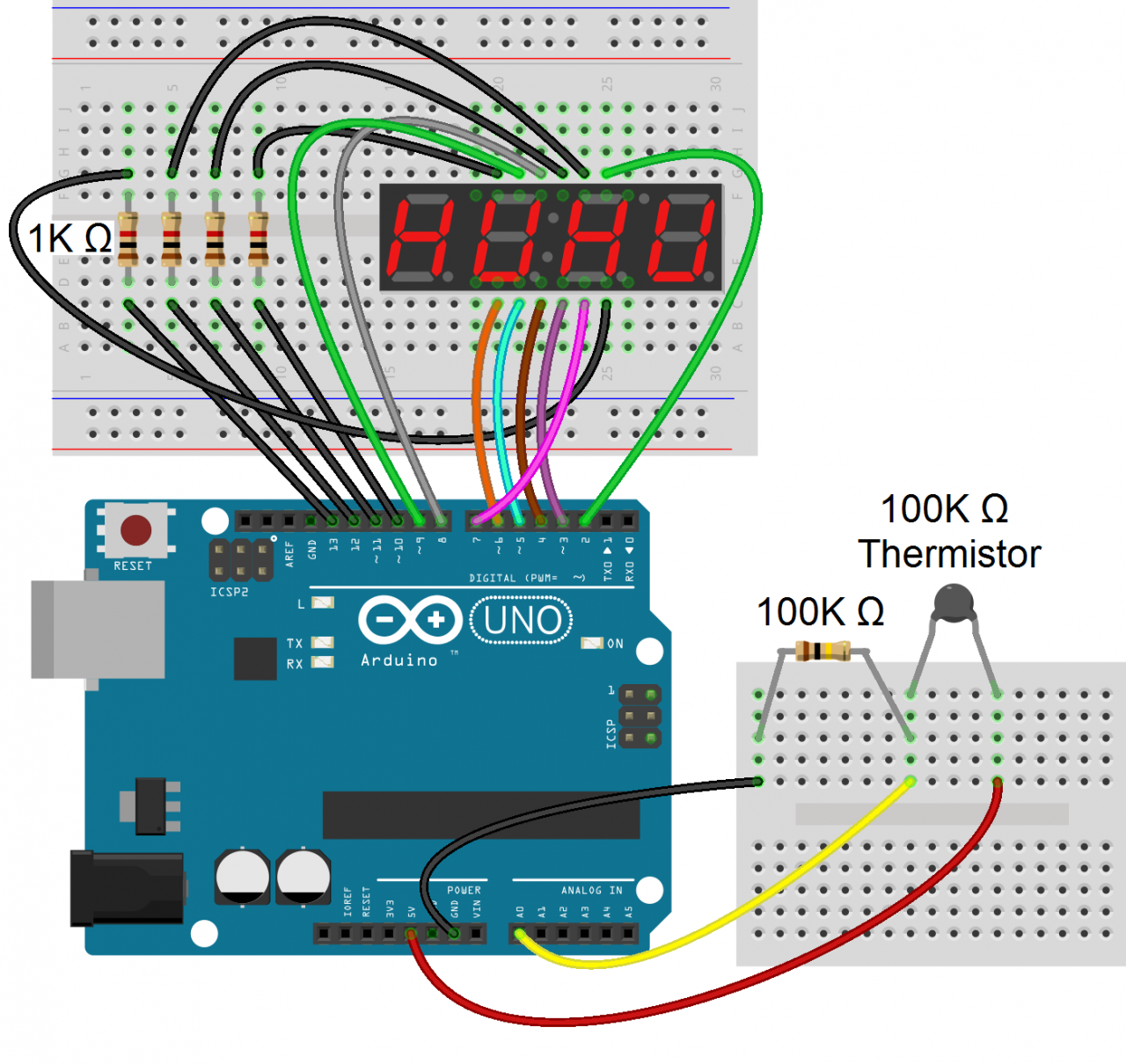 How To Set Up 7 Segment Displays On The Arduino Circuit Basics You Should Print Out A Copy Of This Wiring Diagram It Come In If Have Questions About Using Thermistor Or Just Want Learn More Them Check Our Other Tutorial With An